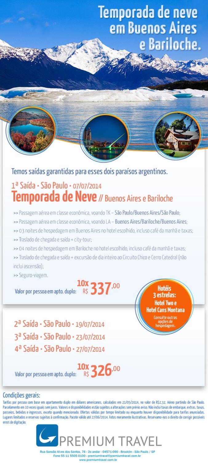 Temporada de neve em Buenos Aires e Bariloche