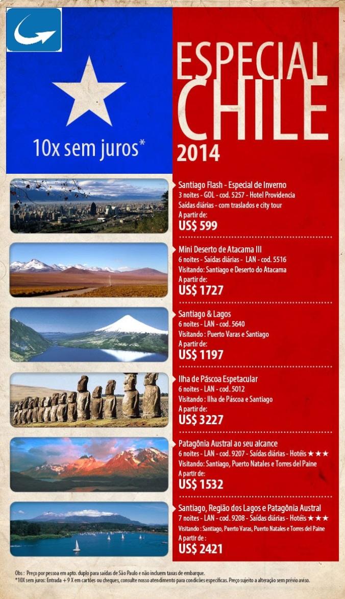 Pacotes especiais para o Chile