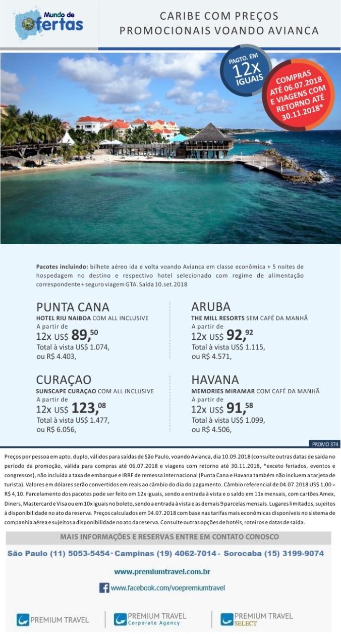 Caribe com preços promocionais voando Avianca